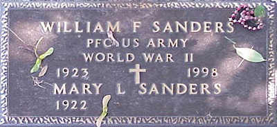 William F. Sanders Grave Marker