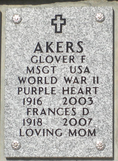Glover Akers Grave Marker