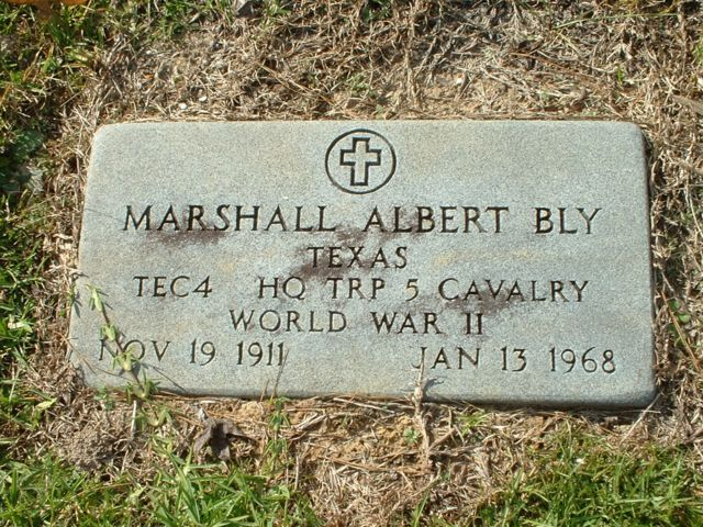 Marshall A. Bly Grave Marker