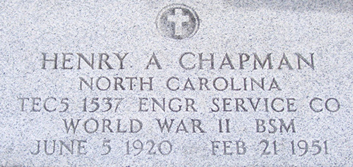 Henry A. Chapman Grave Marker