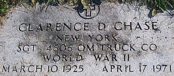 Clarence D. Chase Grave Marker