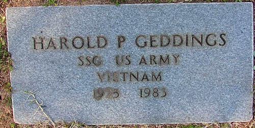 Harold P. Geddings Grave Marker