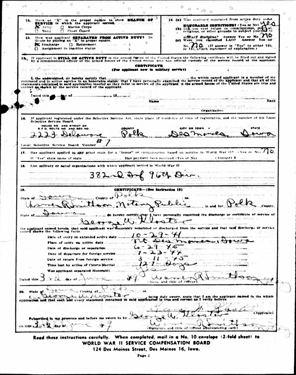 George W. Kloster Bonus Application