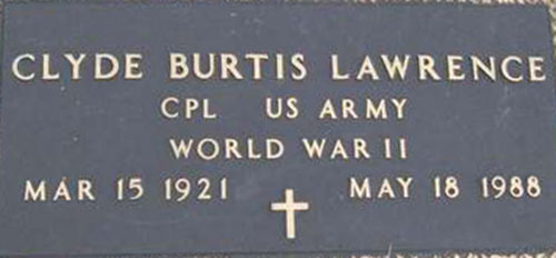 Clyde B. Lawrence Grave Marker