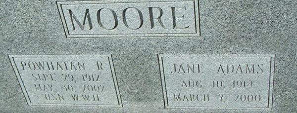 Powhatan R. Moore Grave Marker