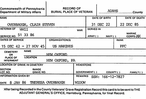 Clair S. Overbaugh Veteran Burial Card