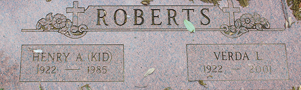 Henry A. Roberts Grave Marker