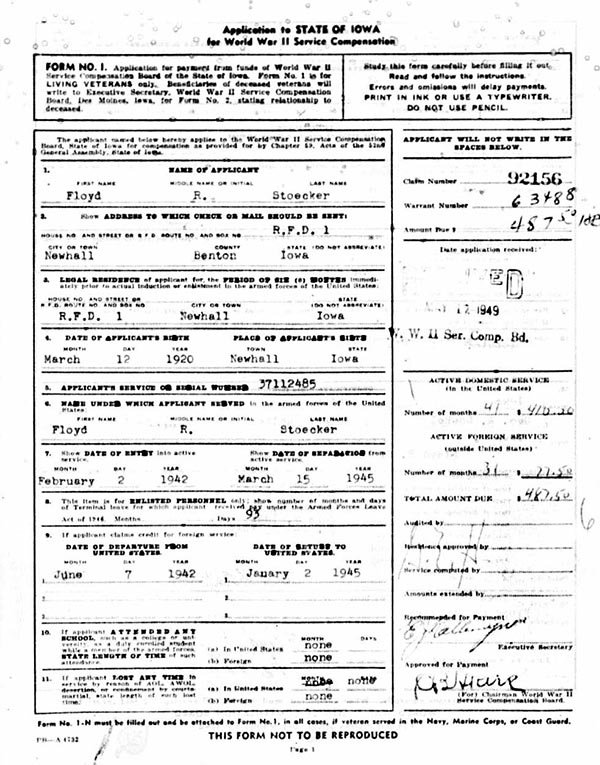 Floyd R. Stoecker Military Bonus Application