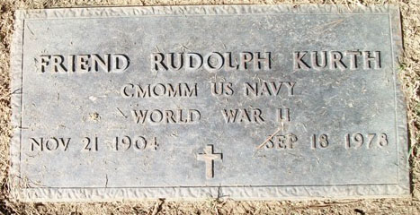 Friend R. Kurth Grave Marker